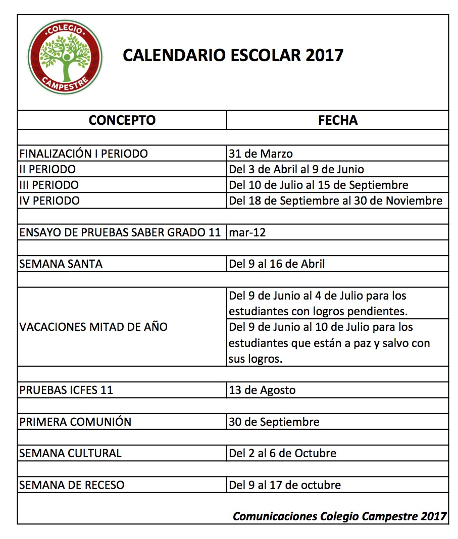 Calendario escolar 2017 colegio campestre for Proyecto restaurante escolar